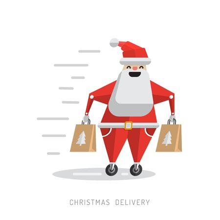 The character of Santa Claus delivering gifts. The concept of delivering the presents and the Christmas sales. Cartoon robot Santa Claus with gifts in his hands Illustration