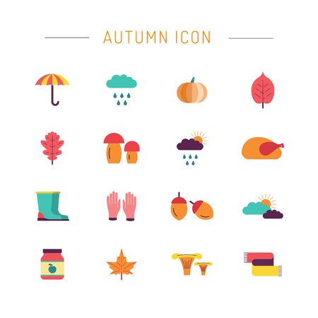preserved: Collection of autumn icons. Collection of autumn clothes items. Autumn harvest foods and plants.