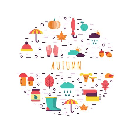 Template on the theme of autumn consisting of background which includes elements symbolizing the autumn and place for text on white background. Illustration