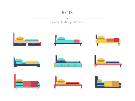 matress: A set of beds in outline style