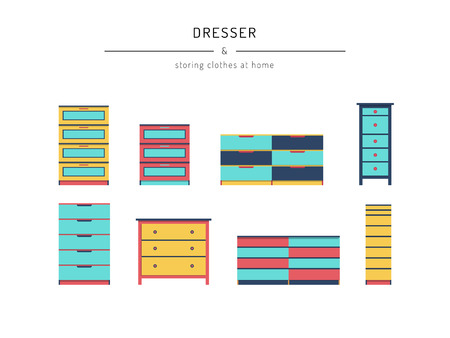 closets: A set cabinets, dresser, drawn in a flat style. Cabinets furniture elements to create the design of interiors, apartments, bedrooms, closets Illustration