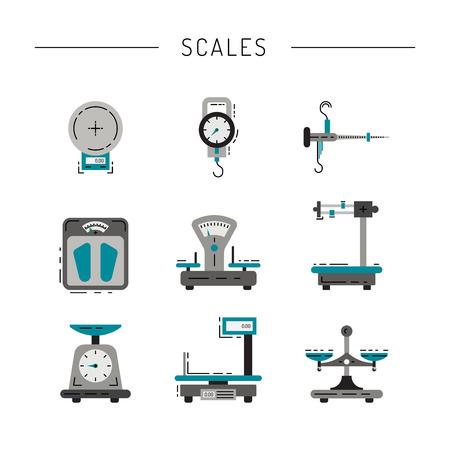 Conjunto de escalas para pesar las cosas, productos, personas, pintados en el piso técnica. iconos planos de escalas. Foto de archivo - 66649392
