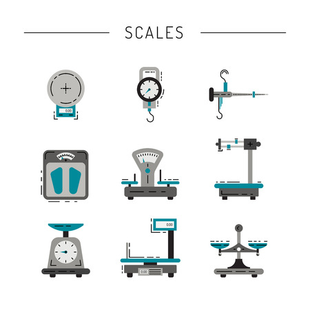 Set of scales for weighing things, products, people, painted in the technique flat. Flat icons of scales. 免版税图像 - 66649392