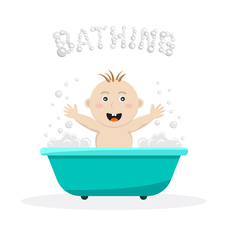 infant bathing: Baby bathing in a small bath, with bath foam and soap bubbles. A joyful baby takes a bath, body hygiene of the infant. Game baby in the bath water.