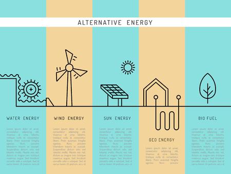 alternative energy: Ecology power concept. New energy type. Alternative energy. Alternative wind energy station. New eco energy vector illustration. Ecology concept. Eco energy concept outline. Alternative energy type.