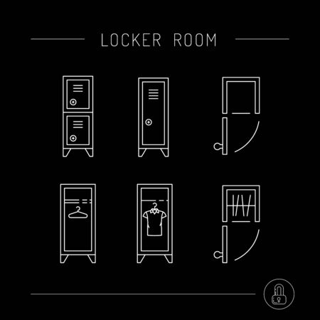 checkroom: Steel cabinet in the locker rooms, front view and top view. The security storage. Illustration