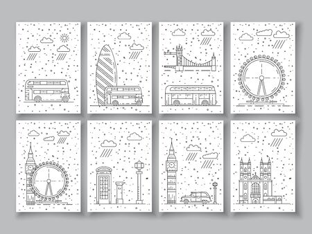 british culture: Historical and modern symbols of London and British culture. Vector outline illustration for book cover or card