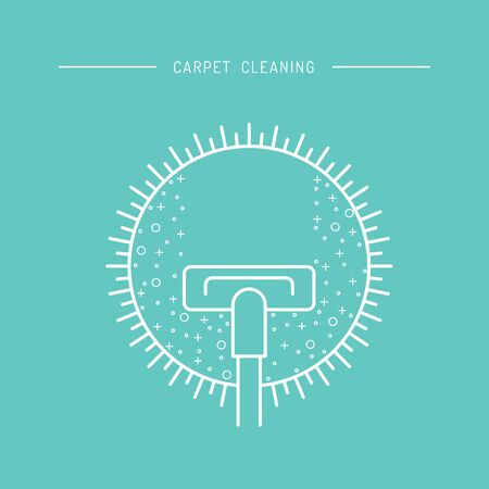 Cleaning of carpets with vacuum cleaner and detergents drawn in a linear style. Vector  of the cleaning company, booklet, flyer Illustration