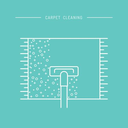 carpet cleaning service design: Cleaning of carpets with vacuum cleaner and detergents drawn in a linear style. Vector of the cleaning company, booklet, flyer