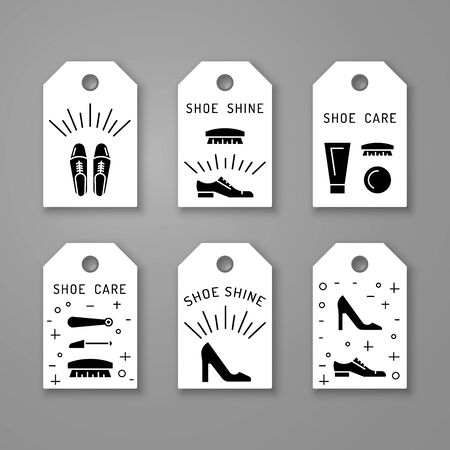 Set icons items for Shoe care. Elements for this service Shoe Shine. Outline Elements for shoe care Vector Illustration