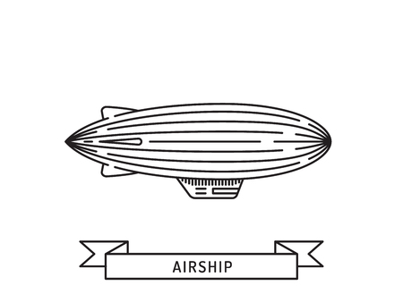 dirigible: Dirigible and hot air balloons airship. Tools of Aeronautics such as the airship and the balloon to move the delivery by air of goods and people. Elements are drawn in vector in a linear style