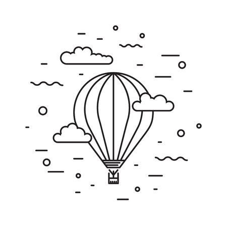 aeronautics: Dirigible and hot air balloons airship. Tools of Aeronautics such as the airship and the balloon to move the delivery by air of goods and people. Elements are drawn in vector in a linear style