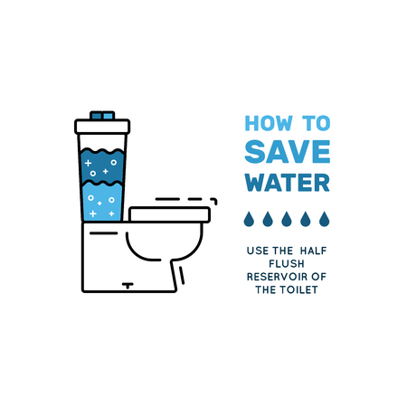 broadsheet: Illustration with tips on saving water consumption by man in a house to reduce financial costs and reduce the amount of accounts with water consumption. Outline icon and symbol saving water. Illustration