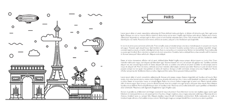 moulin: Architectural landmarks of Paris, the streets of the French capital. Vector illustration drawn in a linear style, it shows the main symbols of France