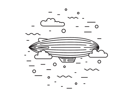 blimp: Dirigible and hot air balloons airship. Tools of Aeronautics such as the airship and the balloon to move the delivery by air of goods and people. Elements are drawn in vector in a linear style