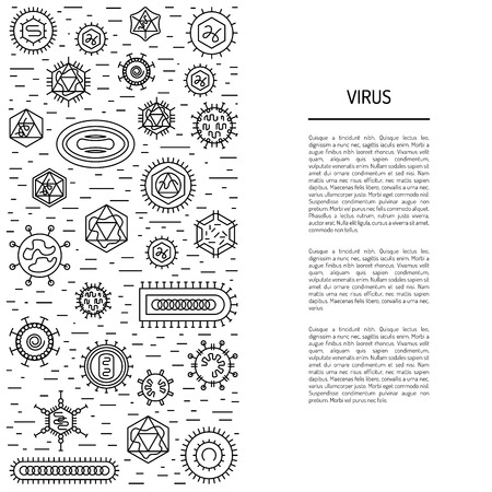 viruses: Vector illustration of cells of microorganisms, viruses, DNA and RNA. Cells of different pathogens and viruses drawn in a linear style, are icons of the cells. Illustration