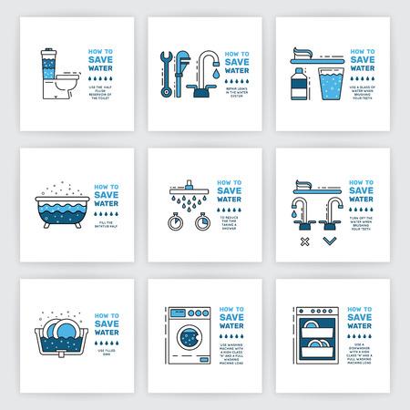 금융 비용 절감 및 물 소비 계정의 양을 줄이기 위해 집에서 사람에 의해 물 소비 절감에 팁 그림. 개요 아이콘 및 기호 절약 물.