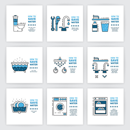 Illustration with tips on saving water consumption by man in a house to reduce financial costs and reduce the amount of accounts with water consumption. Outline icon and symbol saving water. Vectores