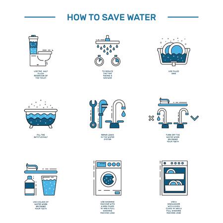 Illustratie met tips over het opslaan van het waterverbruik door de mens in een huis om de financiële kosten te verlagen en de hoeveelheid van de rekeningen te verminderen met het waterverbruik. Outline icoon en symbool waterbesparing.