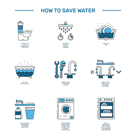 Illustration with tips on saving water consumption by man in a house to reduce financial costs and reduce the amount of accounts with water consumption. Outline icon and symbol saving water. Vettoriali