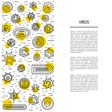 Vector illustration of cells of microorganisms, viruses, DNA and RNA. Cells of different pathogens and viruses drawn in a linear style, are icons of the cells. Illustration