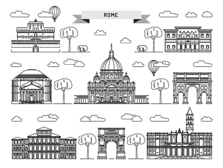 roman catholic: World famous St. Peter Basilica Greatest Landmarks of europe. Linear vector icon for Vatican Rome Italy. Tourist attractions of Rome. Historic buildings from the streets of Rome, outline. Illustration