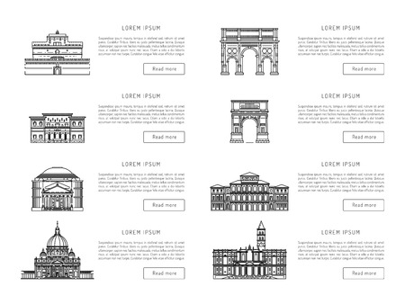vatican city: World famous St. Peter Basilica Greatest Landmarks of europe. Linear vector icon for Vatican Rome Italy. Tourist attractions of Rome. Historic buildings from the streets of Rome, outline. Illustration