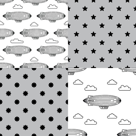 dirigible: Dirigible and hot air balloons airship. Set of Scandinavian trend seamless pattern with balloons and airships. Elements are drawn in vector in a linear style