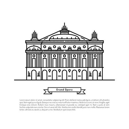 L'edificio dell'Opera di Parigi, realizzato nello stile di contorno con posto per il testo. Outline Paris punto di riferimento
