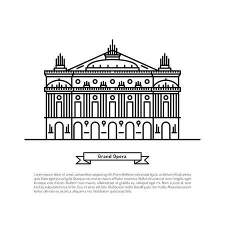 The building of the Opera in Paris, made in the style of outline with place for text. Outline Paris landmark Illustration
