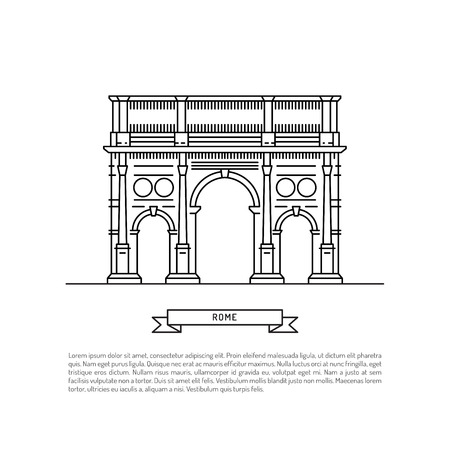 triumphal arch: World famous triumphal arch Landmarks of europe. Linear vector icon for Rome Italy. Illustration