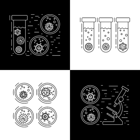 microorganisms: Vector illustration of cells of microorganisms, viruses, DNA and RNA. Cells of different pathogens and viruses drawn in a linear style, are icons of the cells. Illustration