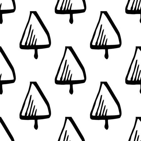 scandinavian: Scandinavian seamless pattern of Christmas tree vector hand-drawing graphics. Illustration