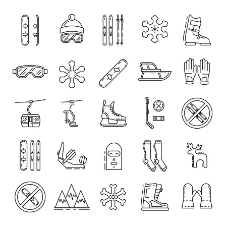 chairlift: Vector linear icons set of symbols denoting the various types of winter recreation and pastimes such as skiing, snowboarding, skating. The types of winter recreation.