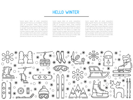 Vector linear icons set of symbols denoting the various types of winter recreation and pastimes such as skiing, snowboarding, skating. The types of winter recreation.