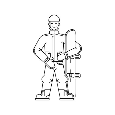 Cartoon snowboarder men standing with snowboard in hand, drawn in the linear style Illustration