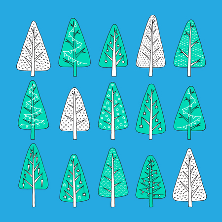 Set christmas tree in hand-drawing illustration, different stile, for postcard, poster, gifts. Decorated Christmas trees hand-drawn