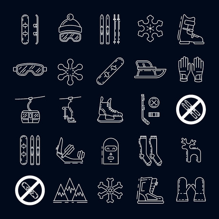 bindings: Vector linear icons set of symbols denoting the various types of winter recreation and pastimes such as skiing, snowboarding, skating. The types of winter recreation.