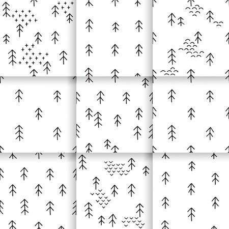 scandinavian winter: Scandinavian pattern with fir trees. Seamless winter patterns, hand drawn in black ink. Perfect for gift wrapping or printing on fabric. Seamless minimal christmas pattern.