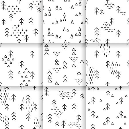 gift pattern: Scandinavian pattern with fir trees and triangles. Seamless winter patterns, hand drawn in black ink. Perfect for gift wrapping or printing on fabric. Illustration