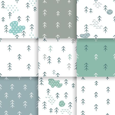 gift pattern: Scandinavian pattern with fir trees. Seamless winter patterns, hand drawn in black ink. Perfect for gift wrapping or printing on fabric. Seamless minimal christmas pattern.