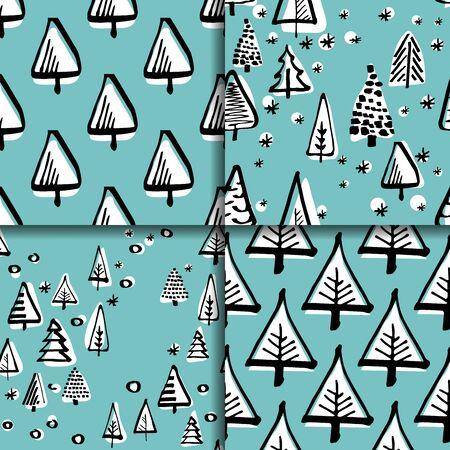 scandinavian: Set scandinavian seamless pattern of Christmas tree vector hand-drawing graphics.