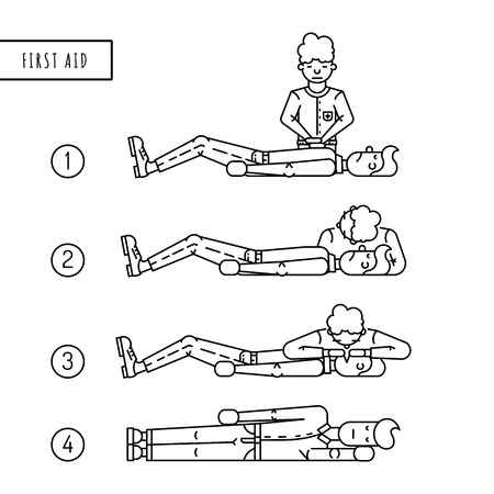 salvavidas: Descripción la disposición escalonada de primeros auxilios. Persona mal y la persona que proporciona los primeros auxilios a la víctima. Esquema de primeros auxilios cuando se deja de respirar y paro cardíaco