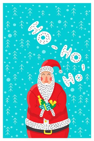 Cartoon character Santa Claus, a symbol of new year holidays and Christmas, for use in printing on greeting cards. Santa Claus holding a gift with background of snowflakes and Christmas trees.