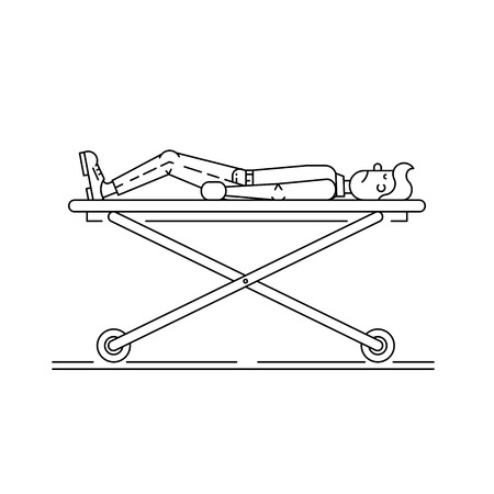 reanimation: The patient lies in a hospital bed and the gurney he was put on a drip. assistance, treatment of the sick person. Illustration