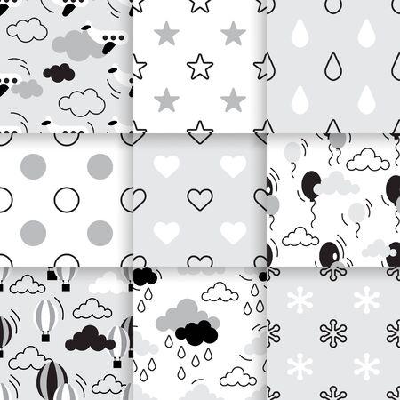 Ensemble de tendance scandinave pattern. vecteur Minimalistic seamless parfait pour papier peint, coton imprimé textil, linge de lit, forfait vacances ou du papier d'emballage. Vecteurs