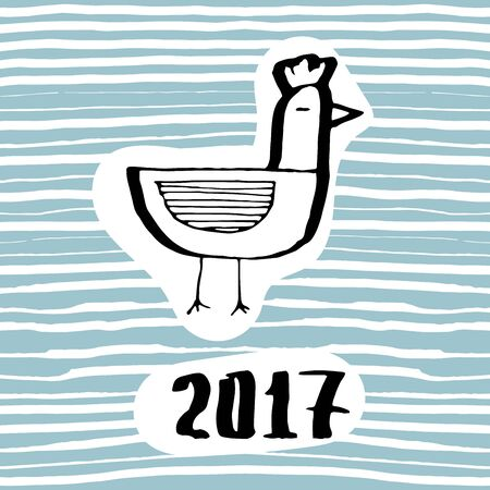 polish chicken: The symbol of the coming new year 2017 the rooster. The emblem of the Chinese new year animal cock