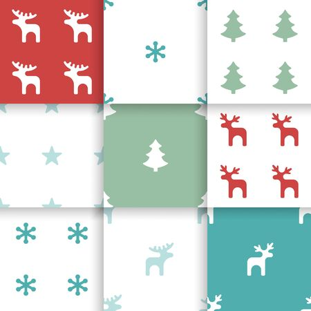 textil: Set of Scandinavian trend seamless winter pattern. Minimalistic xmas vector seamless pattern perfect for wallpaper, textil cotton print, bed linen, holiday package or wrapping paper.