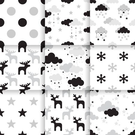 textil: Set of Scandinavian trend seamless pattern. Minimalistic vector seamless pattern perfect for wallpaper, textil cotton print, bed linen, holiday package or wrapping paper. Illustration