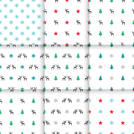elk point: Set of Scandinavian trend seamless pattern. Minimalistic vector seamless pattern perfect for wallpaper, textil cotton print, bed linen, holiday package or wrapping paper. Illustration